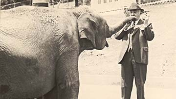 Milton Hershey with Elephant